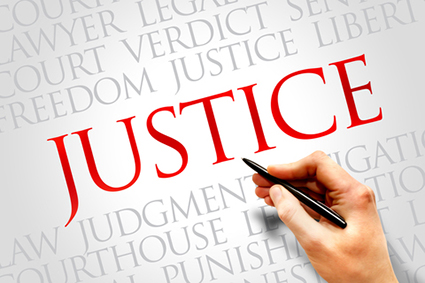 Graphic showing the word 'justice'; we offer no win no fees to help you access employment tribunals.
